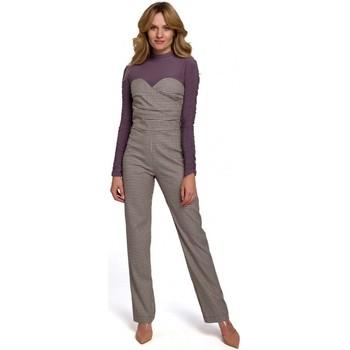 Textil Mulher Macacões/ Jardineiras Makover K073 Macacão Gingham com top sem alças - castanho