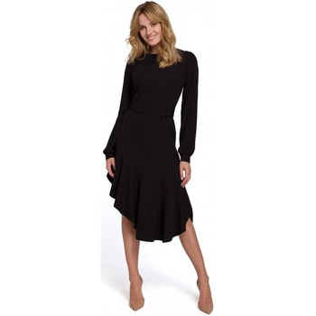 Textil Mulher Vestidos compridos Makover K077 Vestido com folho flamenco - preto