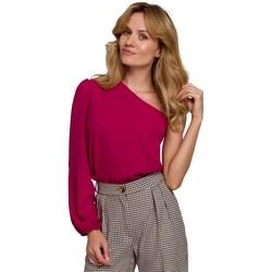 Textil Mulher Tops / Blusas Makover K080 Um ombro no topo - ameixa