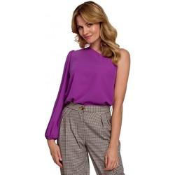 Textil Mulher Tops / Blusas Makover K080 Um ombro no topo - lavanda