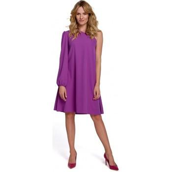 Textil Mulher Vestidos curtos Makover K081 Vestido de um ombro - preto