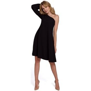 Textil Mulher Vestidos curtos Makover K082 Mini vestido com cinto de gravata largo - bege
