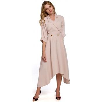 Textil Mulher Vestidos compridos Makover K086 Vestido de comprimento Midi com botões decorativos - preto