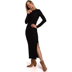 Textil Mulher Vestidos compridos Moe M544 Vestido Maxi com uma perna partida - preto