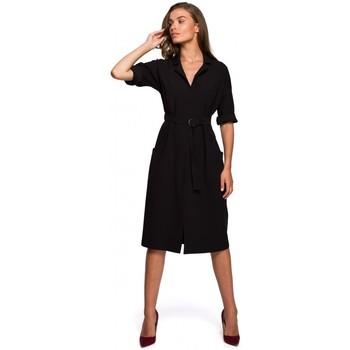 Textil Mulher Vestidos compridos Style S230 vestido de camisa Midi com bolsos de remendo - preto