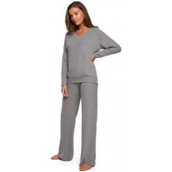 Textil Mulher Calças finas / Sarouels Style S249 Calças de perna larga de malha - cinzento