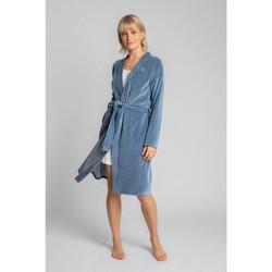 Textil Mulher Pijamas / Camisas de dormir Lalupa LA009 Robe de Veludo com Cinto de Gravata - azul