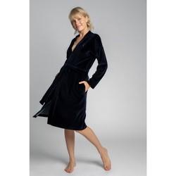 Textil Mulher Pijamas / Camisas de dormir Lalupa LA009 Roupa de veludo com cinto de amarrar - azul-marinho