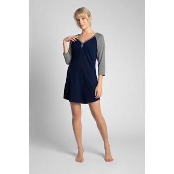 Textil Mulher Pijamas / Camisas de dormir Lalupa LA018 Camisa de dormir em algodão Colourblock - ecru