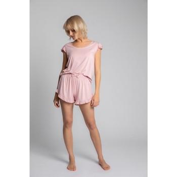 Textil Mulher Tops / Blusas Lalupa LA023 Viscoze Top com manga enrolada - rosa