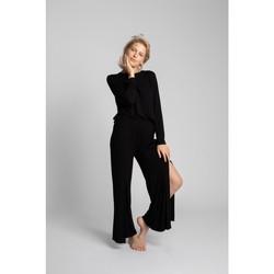 Textil Mulher Calças finas / Sarouels Lalupa LA026 Calças de viscose com divisões altas - preto