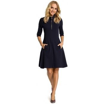 Textil Mulher Vestidos curtos Moe M349 Colarinho de zíper e vestido flare - azul-marinho