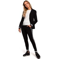 Textil Mulher Blazers Moe M459 Blazer com punhos com nervuras listradas - preto