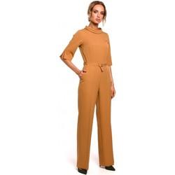 Textil Mulher Macacões/ Jardineiras Moe M463 Jumpsuij com gola alta - canela