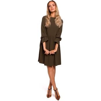 Textil Mulher Vestidos curtos Moe M465 Vestido por turnos com mangas ruggled - cáqui
