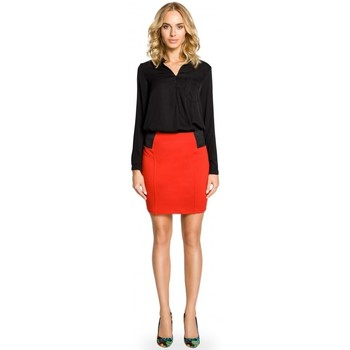Textil Mulher Saias Moe M042 Mini-saia lisa com cintura elástica - vermelha