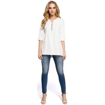 Textil Mulher Tops / Blusas Moe M278 Blusa túnica com pescoço zipado - vermelha