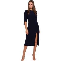 Textil Mulher Vestidos curtos Makover K007 Vestido de malha com mangas amarradas - azul-marinho