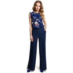 Textil Mulher Calças finas / Sarouels Moe M378 Calças de perna larga - azul-marinho