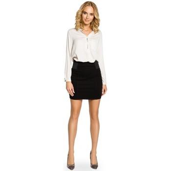 Textil Mulher Saias Moe M042 Mini-saia lisa com cintura elástica - preta