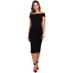 Textil Mulher Vestidos curtos Makover K001 Vestido de malha ao ombro - preto