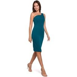 Textil Mulher Vestidos curtos Makover K003 Vestido de bainha com um decote de um ombro - azul-marinho