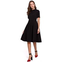 Textil Mulher Vestidos curtos Makover K028 Pescoço enrolado e vestido flare - preto