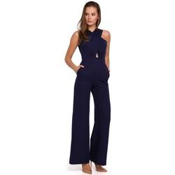 Textil Mulher Macacões/ Jardineiras Makover K029 Fato de salto dianteiro transversal - azul profundo