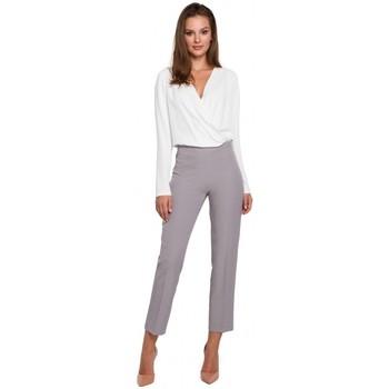 Textil Mulher Chinos Makover K035 Calças com cintura elástica - cinzento