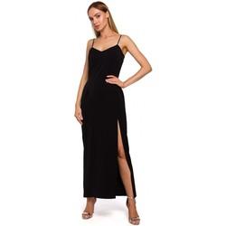 Textil Mulher Vestidos compridos Moe M485 Vestido de noite Maxi com divisão alta - preto