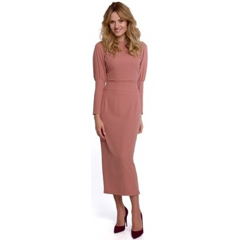 Textil Mulher Vestidos compridos Makover K079 Vestido de comprimento Midi com costas divididas - rosa