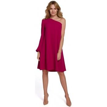 Textil Mulher Vestidos curtos Makover K081 Vestido de um ombro - ameixa