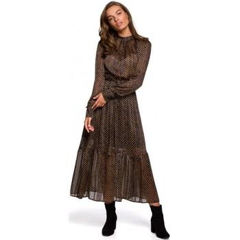Textil Mulher Vestidos compridos Style S239 Vestido a lápis com cinto de gravata - preto