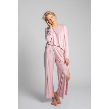 Textil Mulher Pijamas / Camisas de dormir Lalupa LA026 Calças de viscose com divisões altas - rosa