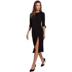 Textil Mulher Vestidos curtos Makover K007 Vestido de malha com mangas atadas - preto