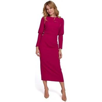 Textil Mulher Vestidos compridos Makover K079 Vestido de comprimento Midi com costas rachadas - ameixa
