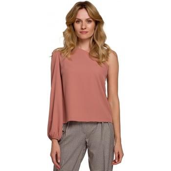 Textil Mulher Tops / Blusas Makover K080 Um ombro no topo - rosa