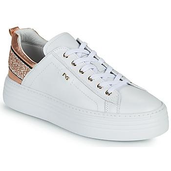 Sapatos Mulher Sapatilhas NeroGiardini GATTO Branco / Rosa / Ouro