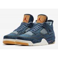 Sapatos Sapatilhas de cano-alto Nike Air Jordan 4 Levi's Denim Denim/Denim-Sail-Game Red