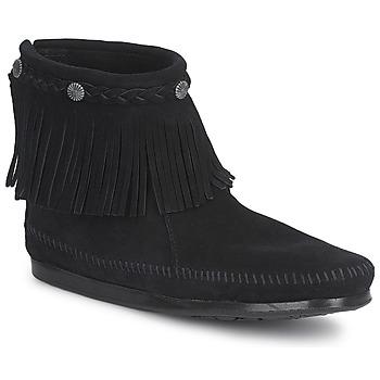 Sapatos Mulher Botas baixas Minnetonka HI TOP BACK ZIP BOOT Preto