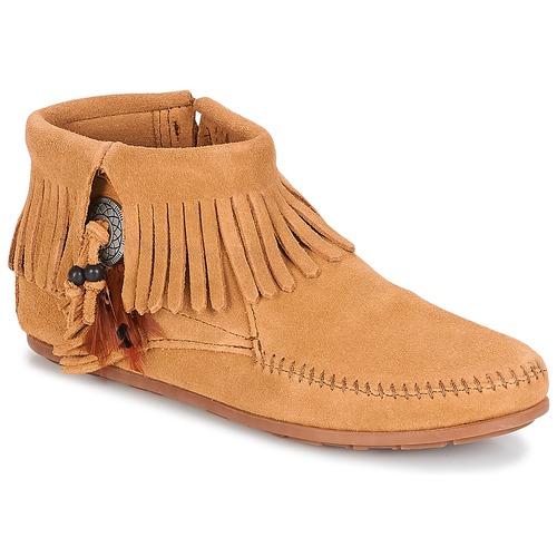 Sapatos Mulher Botas baixas Minnetonka CONCHO FEATHER SIDE ZIP BOOT Camel
