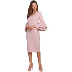 Textil Mulher Vestidos compridos Makover K002 Vestido de bainha com mangas desbotadas - crepepink
