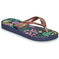 Sapatos Rapariga Chinelos Havaianas KIDS FLORES Marinho / Ouro