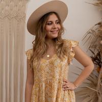 Textil Mulher Vestidos curtos Céleste DAHLIA Amarelo / Branco