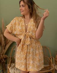 Textil Mulher Macacões/ Jardineiras Céleste AZALEE Amarelo / Branco