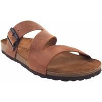 Sapatos Homem Sandálias Interbios Sandália masculina  9553 em couro Castanho