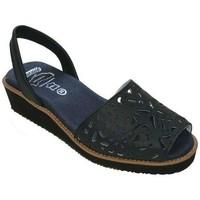 Sapatos Mulher Sandálias Avarca Cayetano Ortuño Menorquina piel cuña Bleu