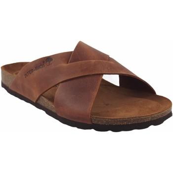 Sapatos Homem Chinelos Interbios Sandália masculina  9509 em couro Castanho