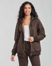 Textil Mulher Sweats MICHAEL Michael Kors UNISEX MK DOT ZIP HOODIE Castanho