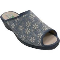 Sapatos Mulher Chinelos Made In Spain 1940 Chinelos femininos com flores abertas Al azul